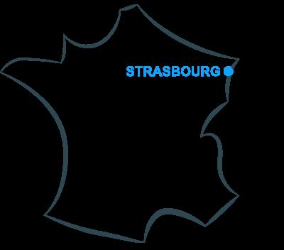 Ville de Strasbourg sur la carte de France